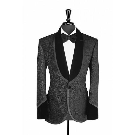 Black Damask Print Jacquard Velvet Tuxedo Jacket