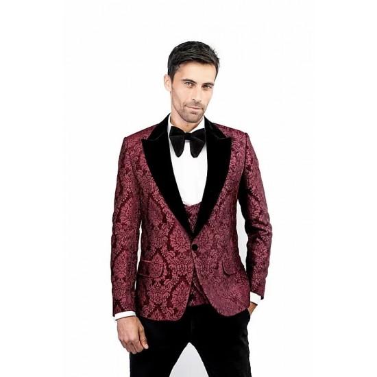 Burgundy Damask Jacquard Velvet Jacket