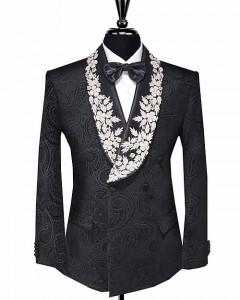Paisley Print Velvet Tuxedo Jacket