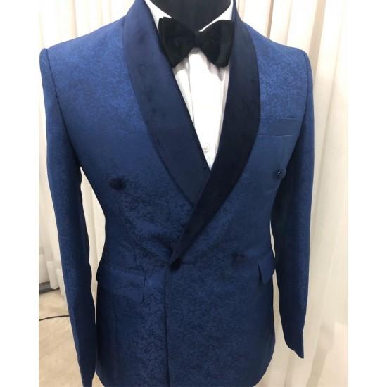 Navy Blue Double Breast Shawl Lapel Tuxedo