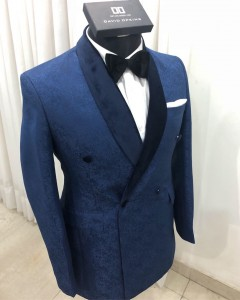 Navy Blue Jacquard Tuxedo