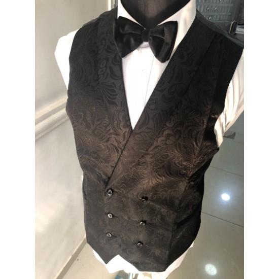 Jacquard black Waistcoat